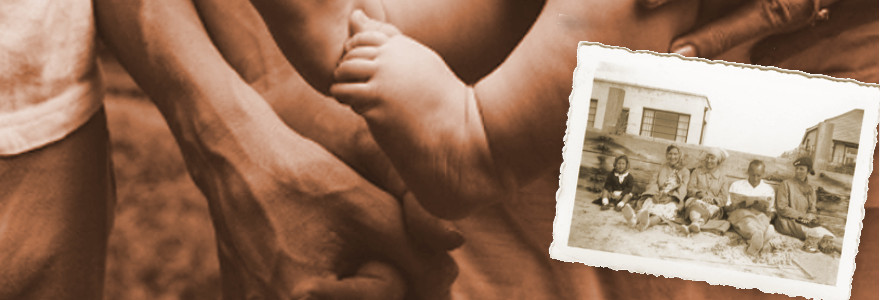 old photo overlaid over modern family closeup with baby foot and parents holding hands